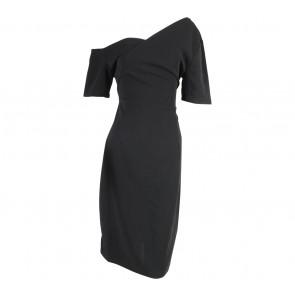 Cocoon Black Off Shoulder  Midi Dress