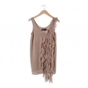 H&M Light Brown Ruffle Mini Dress