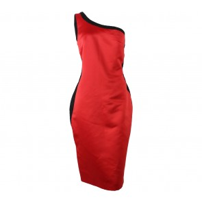 LOTUZ Red And Black One Shoulder Midi Dress