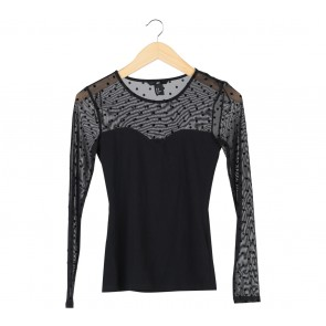 H&M Black Polka Dot Sheer Insert T-Shirt