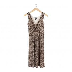 Esprit Brown Leopard Sleeveless Midi Dress