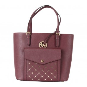 Michael Kors Maroon Jet Set Top-Zip Saffiano Leather Tote Bag