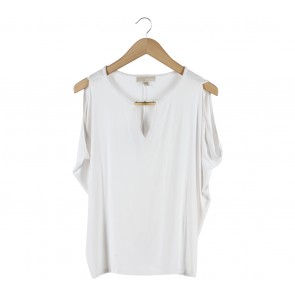 Michael Kors Off White Off Shoulder  T-Shirt