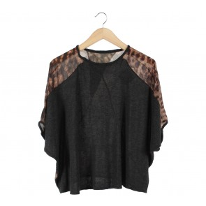 Zara Brown And Grey Leopard Loose Blouse