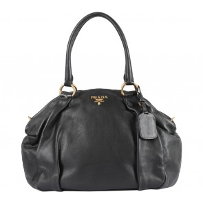 Prada Black Bauletto Soft Calf Shoulder Bag