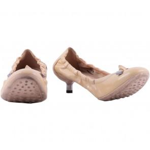 Tod´s Nude Patent Ribbon Detail Kitten Heels