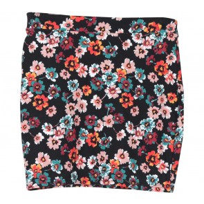 Divided Black Floral Skirt