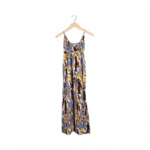 Multi Abstract Babydoll Maxi Dress