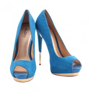 Aldo Blue and Gold Peep Toe Heels