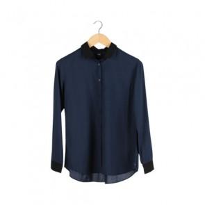 Navy Black Collar Shirt