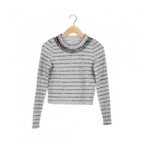 White Striped Diamond Sweater