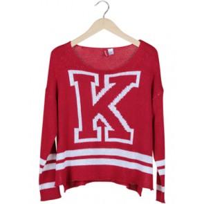 Red Big K Knit Sweater