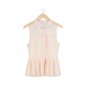 Peach Lace Sleeveless Blouse