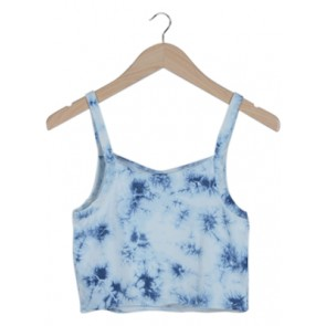 White and Blue Tie-Dye Sleveless Top