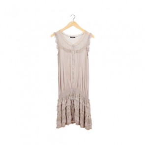 Grey Lace Drop-Waist Midi Dress