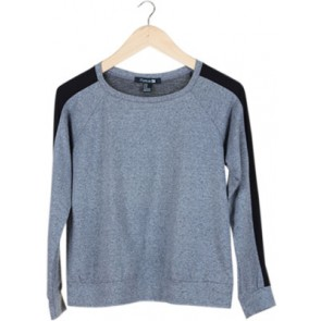 Grey Stripe-Sleeve Sweater
