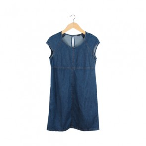 Basic Denim With Pocket Midi Dress