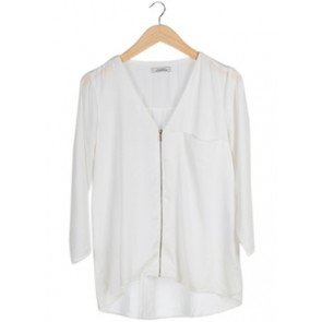 White V-Neck Zipper Blouse