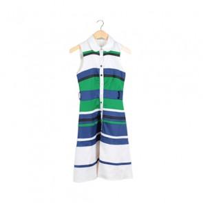 Blue and Green Silk Striped Midi Dress