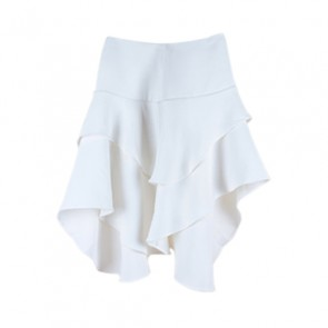 White Ruffle Flare Skirt