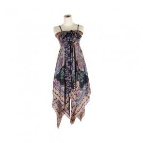 Multi Paisley Asimmetric Dress
