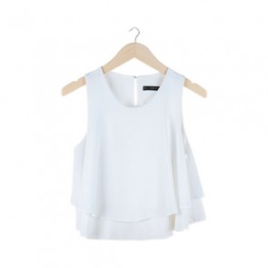 White Basic Layered Sleeveless Blouse