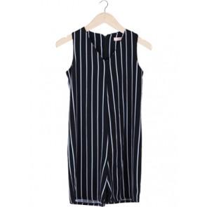 Black Stripes Sleeveless Jumpsuit