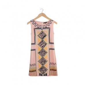Peach Mozaic Shealth Midi Dress