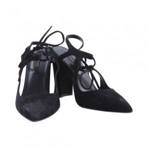 Zara Black Pointy Tied Heel