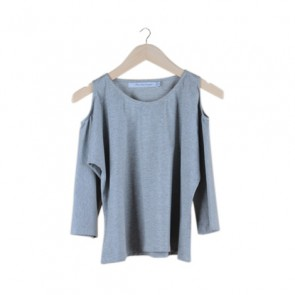 Grey Glitter Cold Shoulder Top