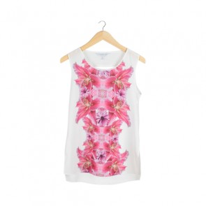 White Floral Back Cut Out Sleeveless