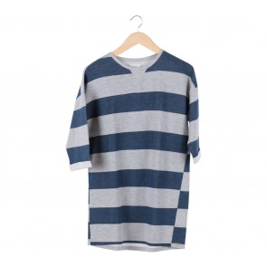 Pull & Bear Grey And Blue Stripped Blouse