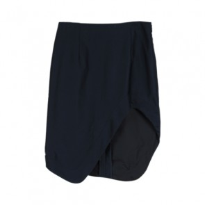 Navy Asymmetrical Midi Skirt