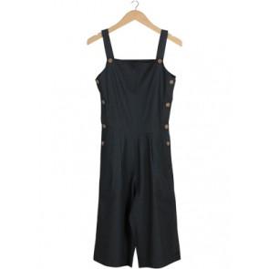Grey Button Sleeveless Jumpsuit