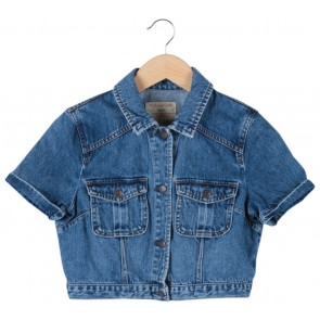 Pull & Bear Blue Cropped Denim Shirt