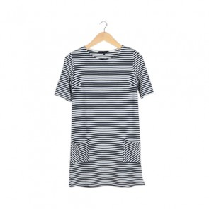 Blue and White Striped Mini Dress