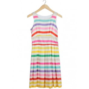 Multi Silk Striped Midi Dress