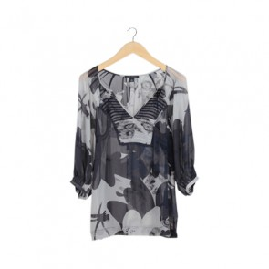 Black and Grey Balloon Sleeve Blouse