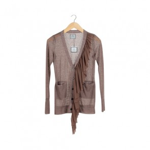 Brown Ruffle Cardigan
