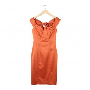 Karen Millen Orange Boat Neck Midi Dress