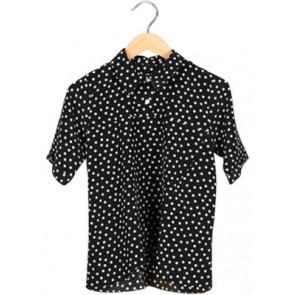 Black Polkadot Collar Blouse