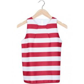 Red White Stripes Sleeveless Blouse