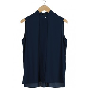 Navy Button Sleeveless Blouse
