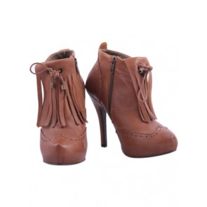 Stradivarius Brown Leather Ankle Boots