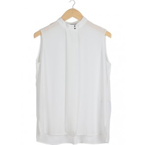 White Button Sleeveless Blouse