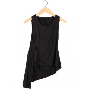 Black Asymmetric Sleeveless Blouse