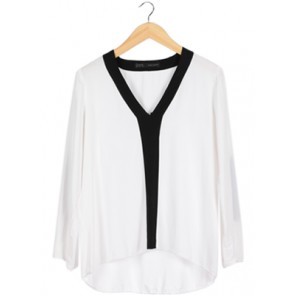 Black Trim White Blouse