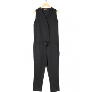 Black Elasticized Waist Jumpsuit