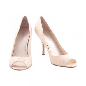 Enzo Angiolini Broken White Patent Snake Skin Peep Toe Heels
