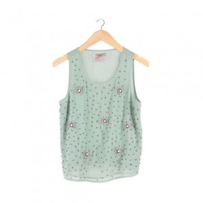 Mint Beaded Sleeveless Blouse